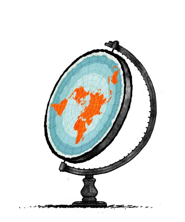 Illustration by David Foldvari of a flat earth on a globe stand