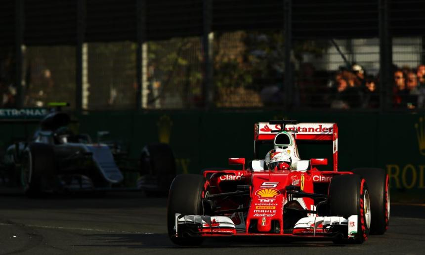 Sebastian Vettel of Germany is still charging at Lewis Hamilton.
