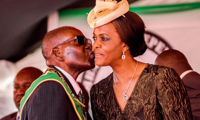 Robert Mugabe kissing his wife Grace in April 2017.