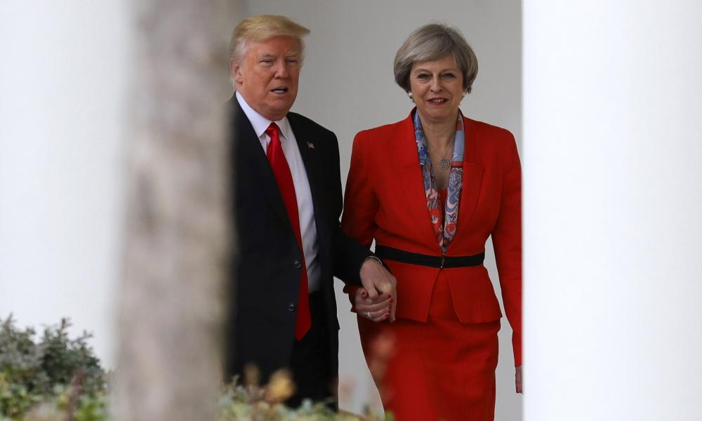British Prime Minister Theresa May with US President Donald Trump at The White House on January 27, 2017.