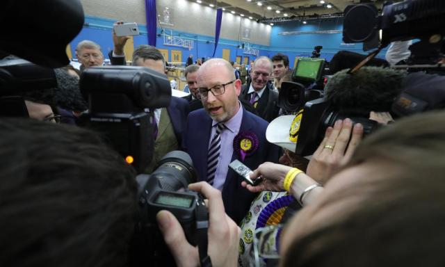Paul Nuttall at the count in Stoke last night.