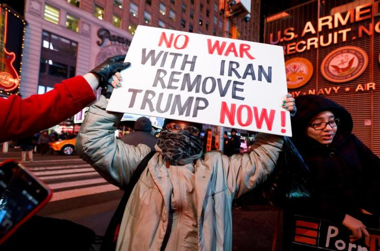 New Yorkers protest against the Trump administration's escalation of military tensions with Iran.