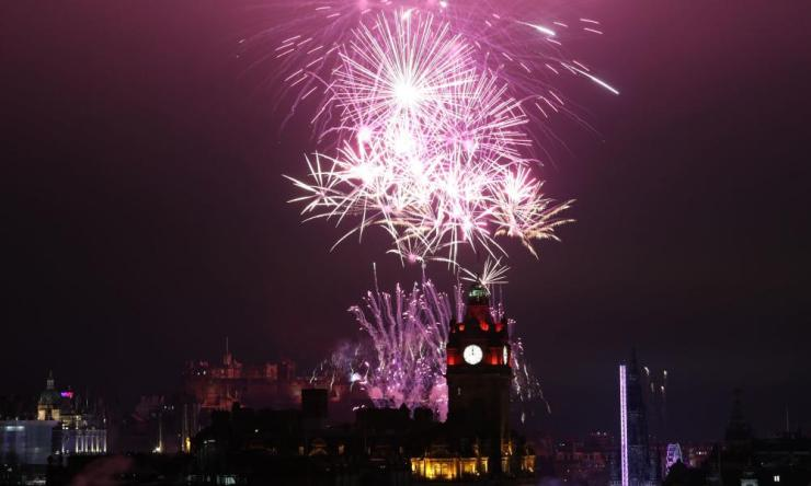 Fireworks light up the sky in Edinburgh during the Hogmanay New Year celebrations.