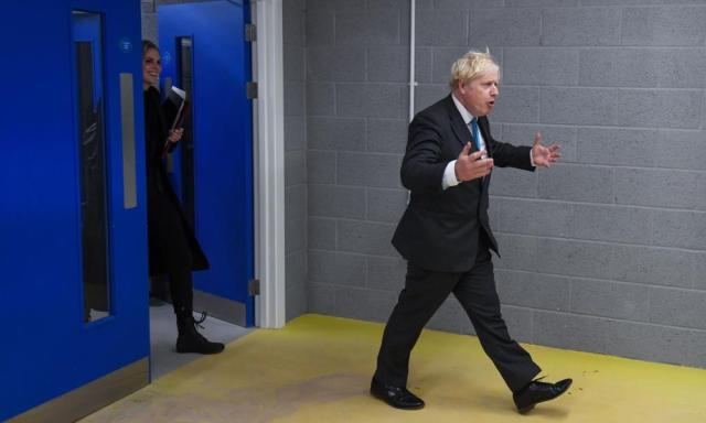 Boris Johnson arriving to deliver his speech earlier.