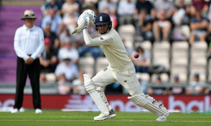 Sam Curran adds to England's total.
