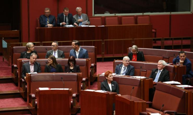The Greens vote with One Nation in the Senate on Monday.