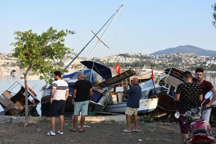 Damaged boats at a beach close to Bodrum.