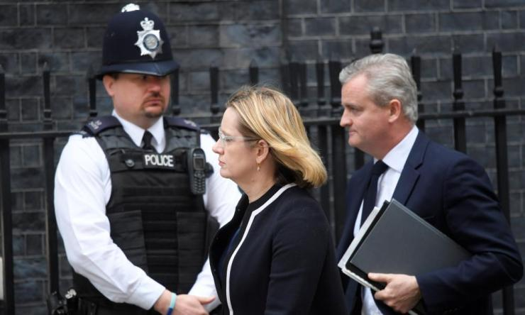 Amber Rudd arrives in Downing Street for a meeting of Cobra, the government's emergency committee.