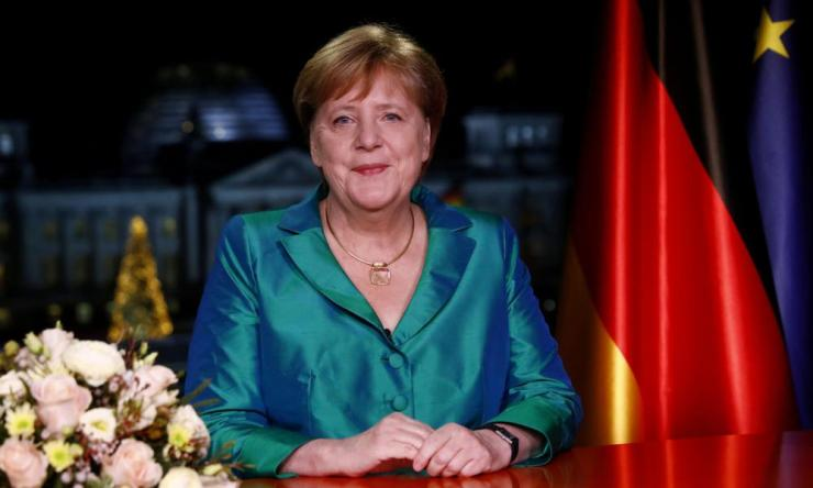 German chancellor Angela Merkel gives her New Year's address.