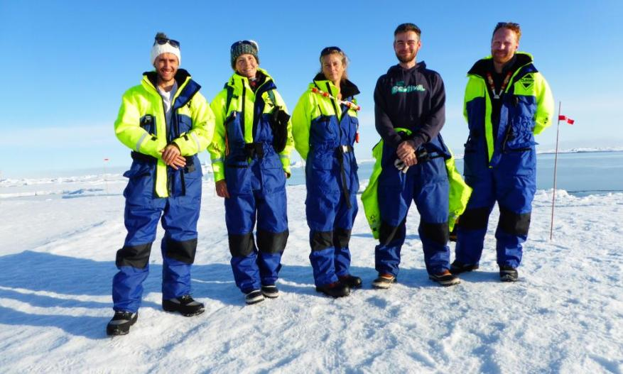 Helen Czerski, second from left, with her scientist colleagues from the Oden, pictured on their first day on the ice.