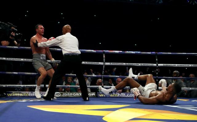 Klitschko's right hands sends Joshua to the canvas.