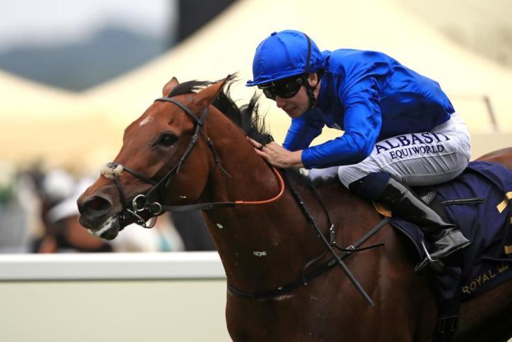 Benbatl ridden by Oisin Murphy on the way to winning the Hampton Court Stakes.