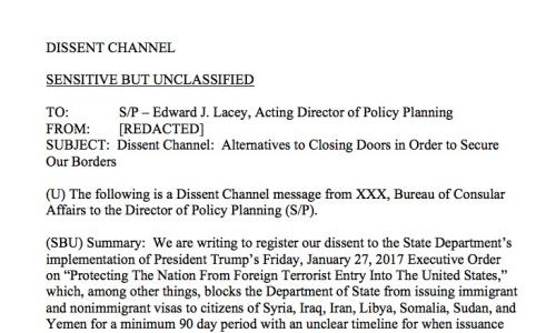 Screengrab of the dissent channel memo draft circulating at the State Department