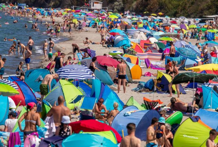 Crowds at the beach of Rerik at the Baltic Sea, northeastern Germany, on Wednesday.