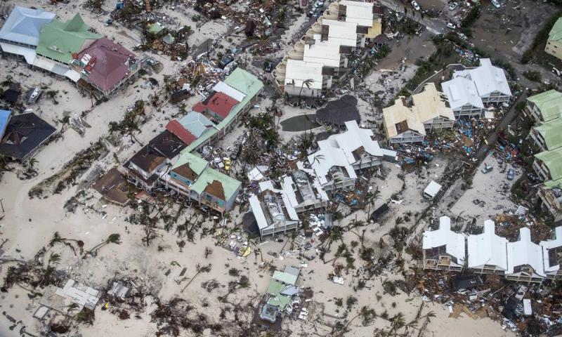 A photo provided by the Dutch Defense Ministry showing storm damage in the aftermath of Hurricane Irma, in St. Maarten.