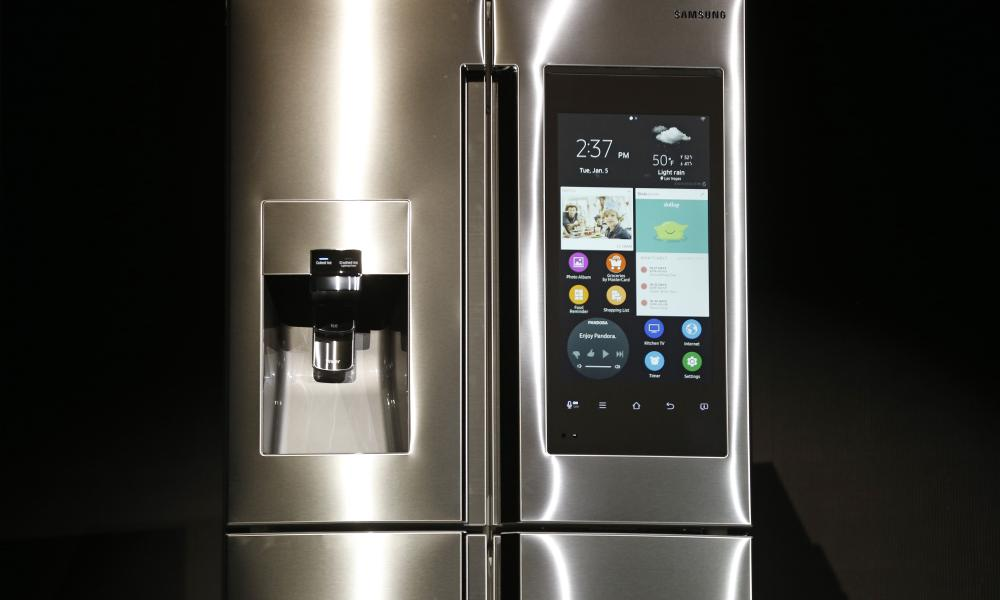 The Family Hub refrigerator on display at CES International.