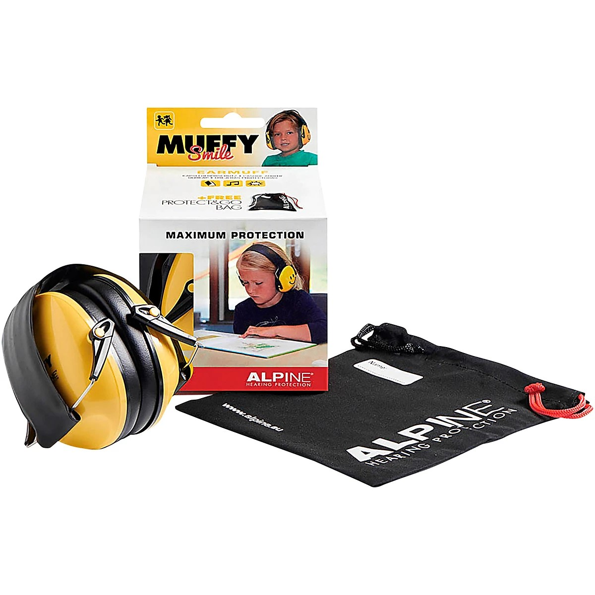 Alpine Hearing Protection Muffy Smile Yellow Protective