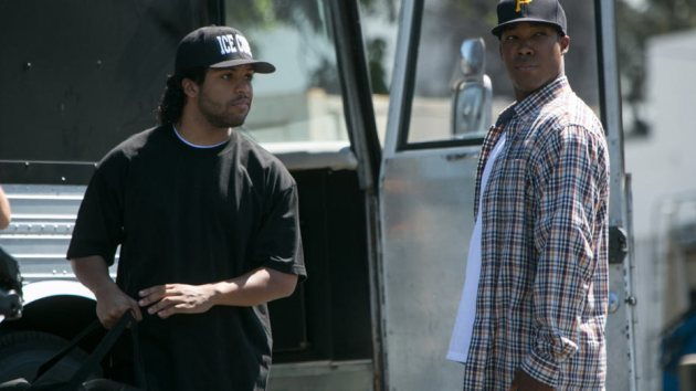 O Shea Jackson Jr. (left), Ice Cube's son, convincingly plays a younger version of the rapper. Corey Hawkins plays Dr. Dre authoritatively in the movie. (Photo credit: UIP)