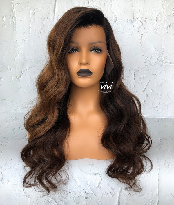 KristinaGolden Brown Long Lace Wig Online Human Hair