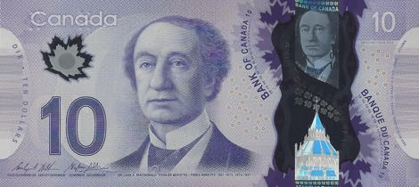 تصویر سر جان مکدانلد بر روی اسکناسهای ۱۰ دلاری کانادا