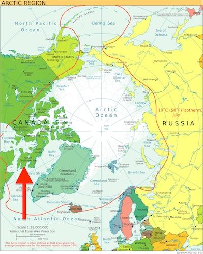 مکان ایکلوئیت (فروبیشر بِی) روی نقشه
