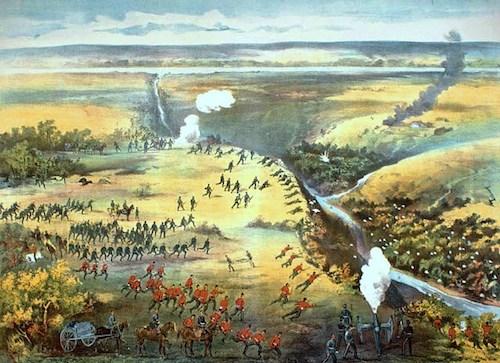 نقاشی از نبرد فیش کریک که به پیروزی میتیها به رهبری گابریل دومونت انجامید