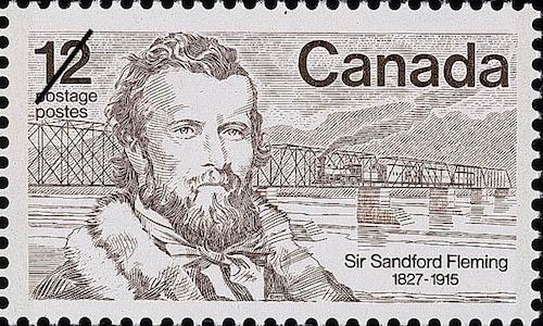 تمبر پستی یادبود سر سندفورد فلمینگ. منتشر شده در سال ۱۹۷۷