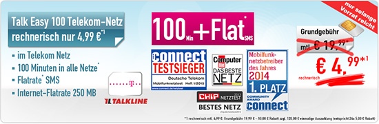 Talkline TMD Talk Easy 100 Minuten Aktion 4.99