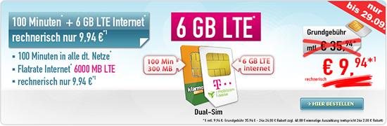 100 Minuten + 6 GB LTE Internet