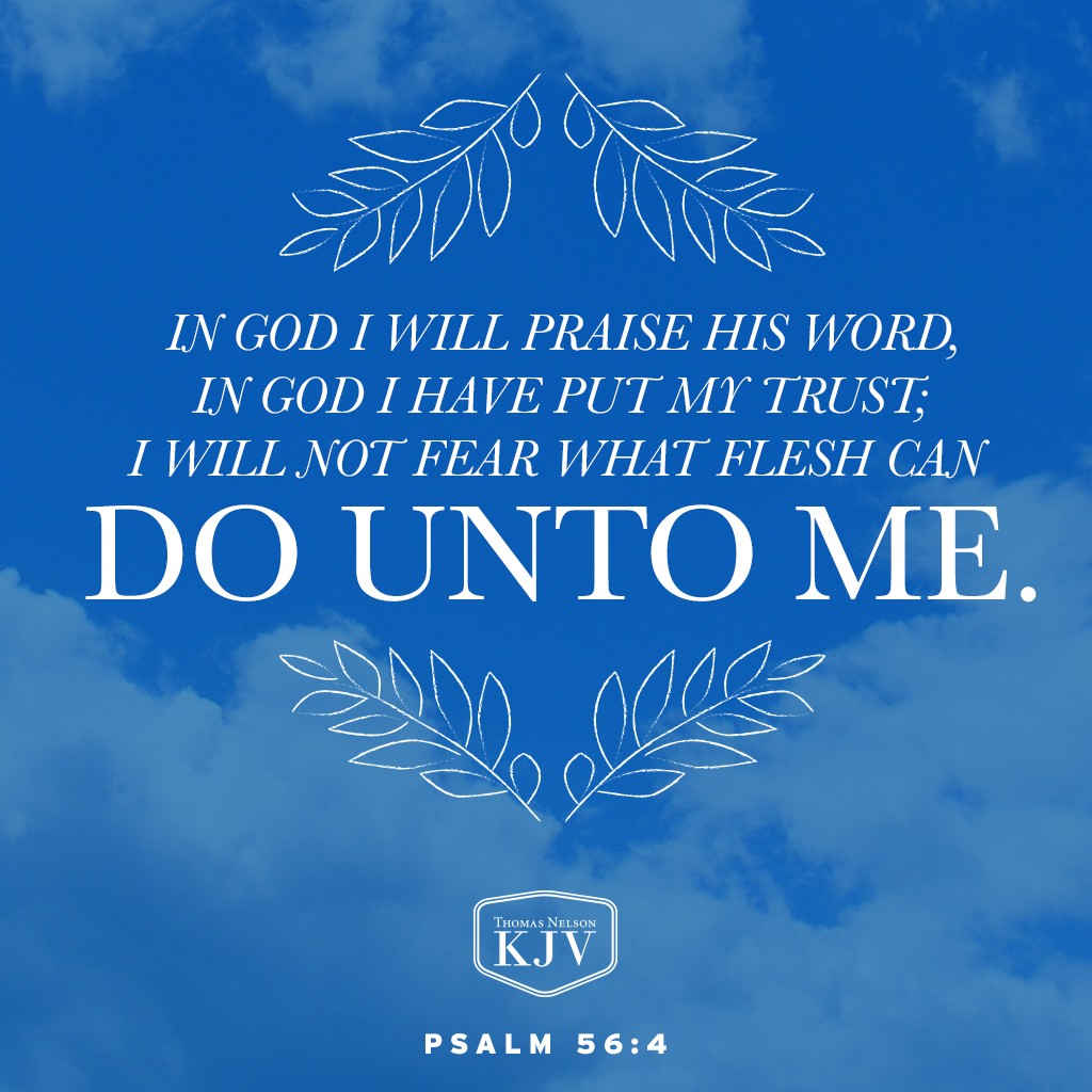 4 In God I will praise his word, in God I have put my trust; I will not fear what flesh can do unto me. Psalm 56:4