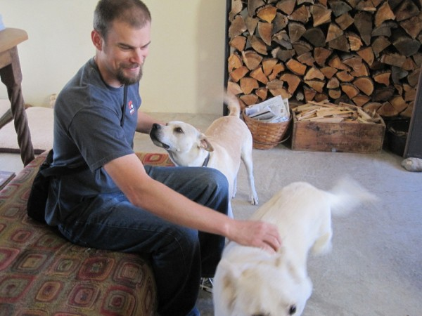 Adam with Finn and Kelee in Truchas, NM