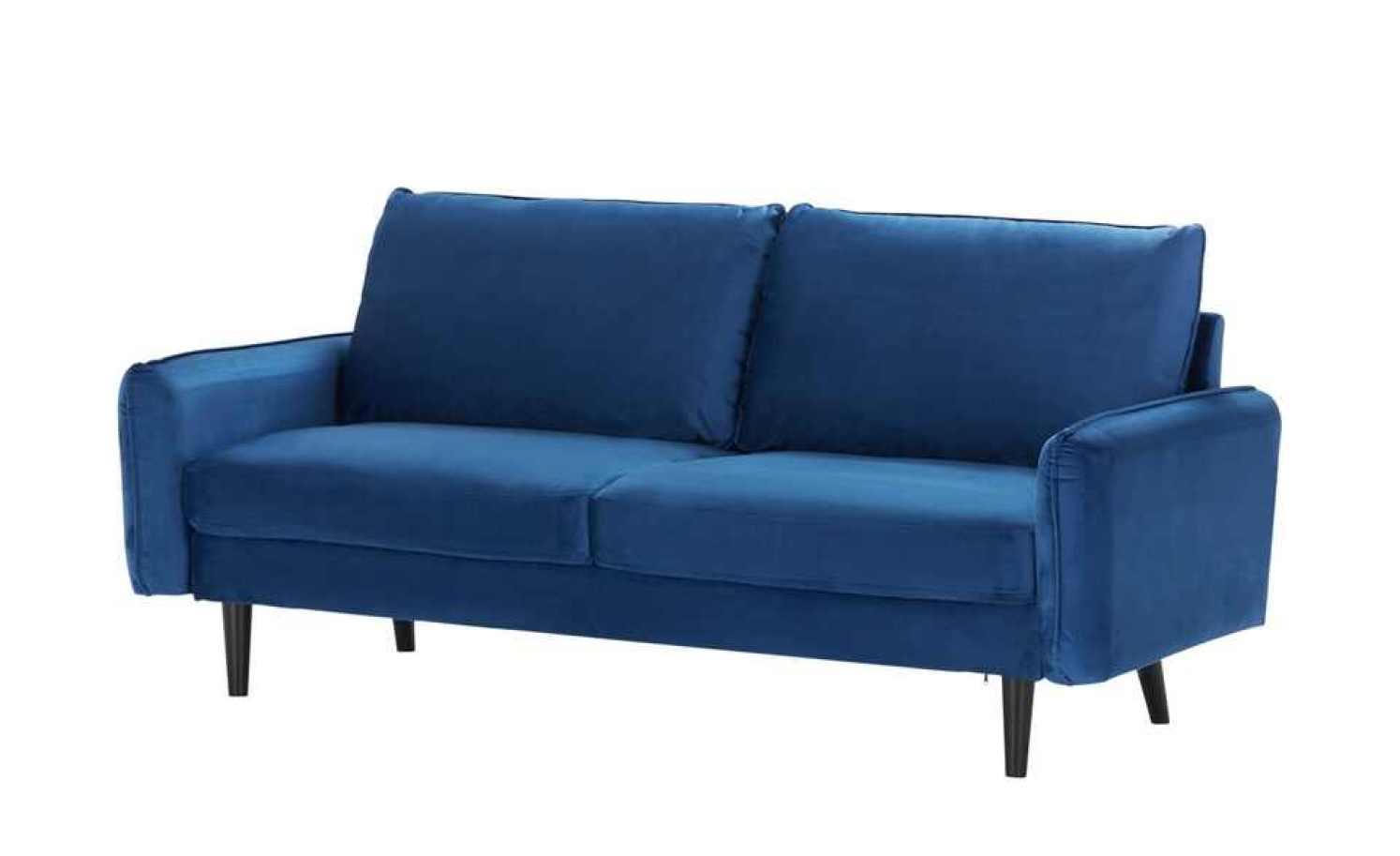Sofa, 3-sitzig QUEENIE Blau / Schwarz