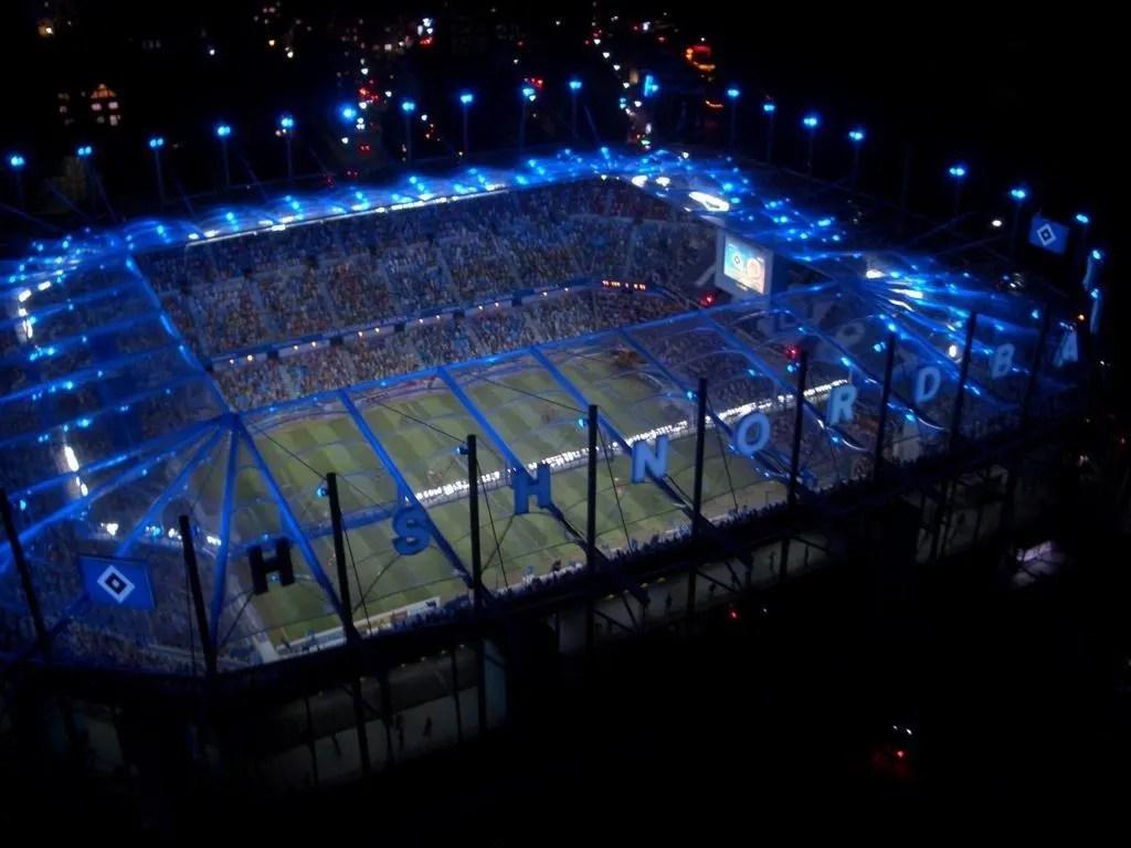 bild hsv stadion bei nacht zu
