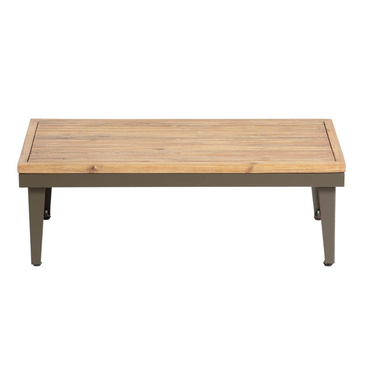 table basse en alu et acacia bois