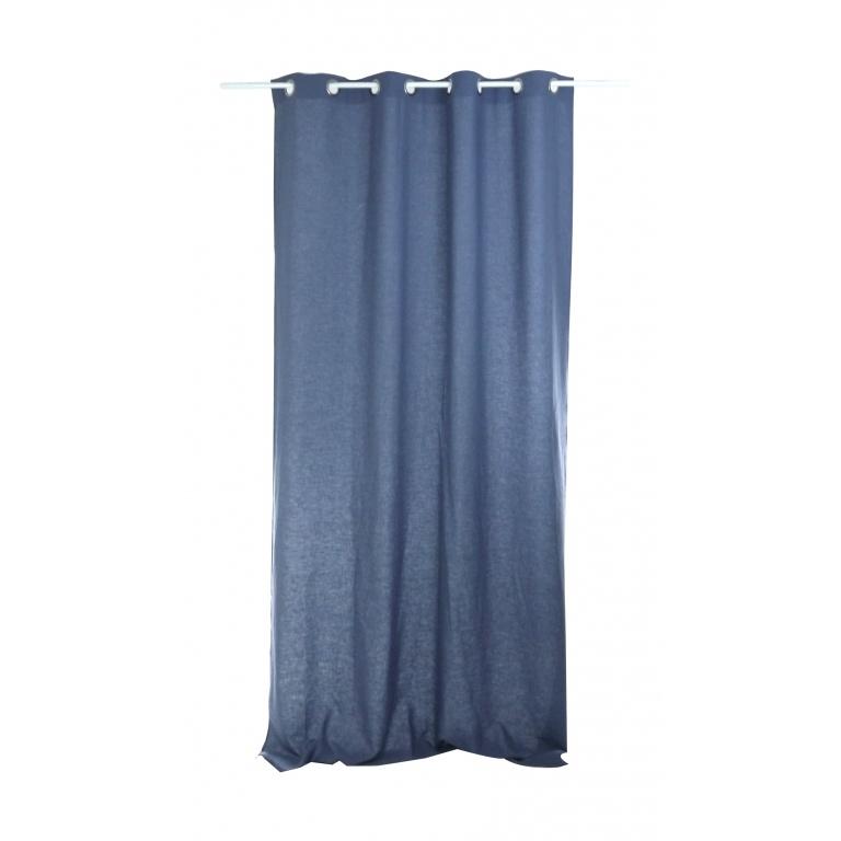 rideau uni en lin lave bleu poudre