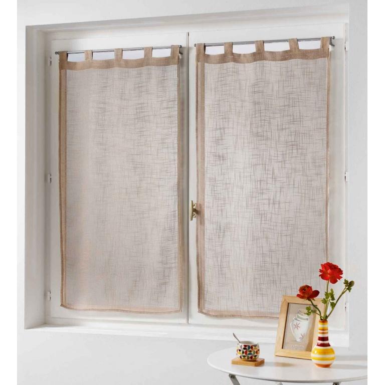 paire de rideaux effet lin blanc