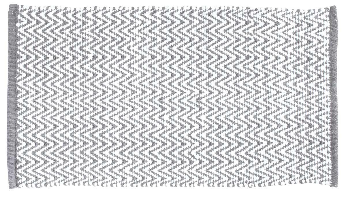 tapis de bain imprime chevrons gris blanc
