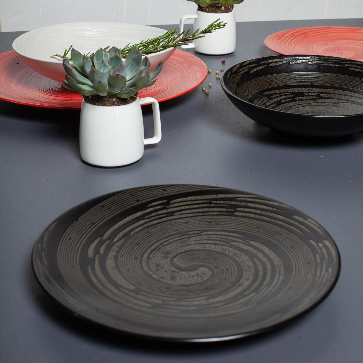 the kitchenette lot de 4 assiettes plates en gres tornade noir 27 cm