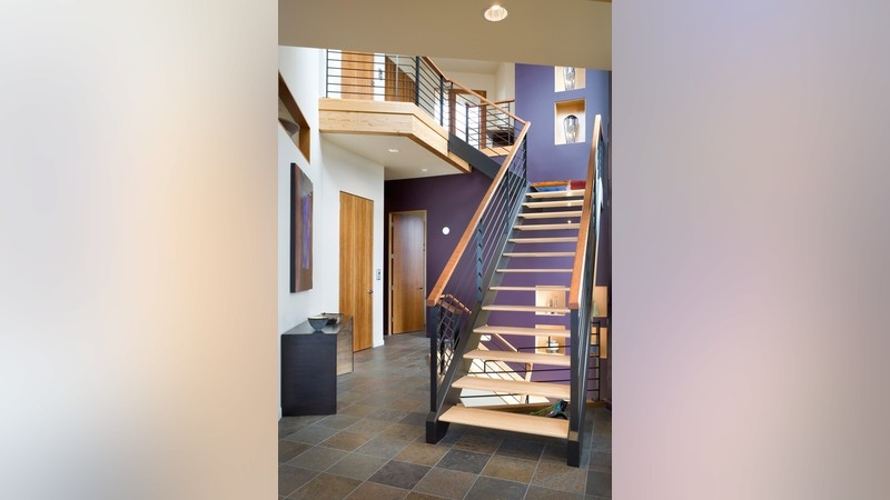 10 Home Plans With Sensational Staircases   Grand Staircase House Plans   Curved Staircase   3 Car Garage   Acadian Home Interior   Single Story   1800 Square Foot