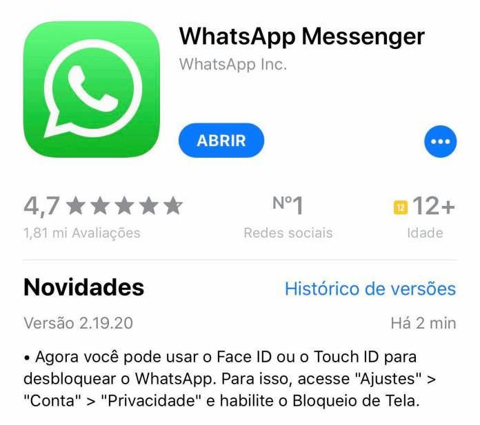 Nova função do Whatsapp, bloqueio de acesso com reconhecimento biométrico