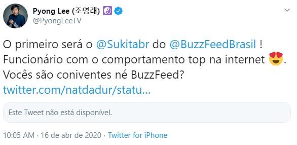 BBB20: Diretor do BuzzFeed entra com ação contra Pyong Lee e pede ...