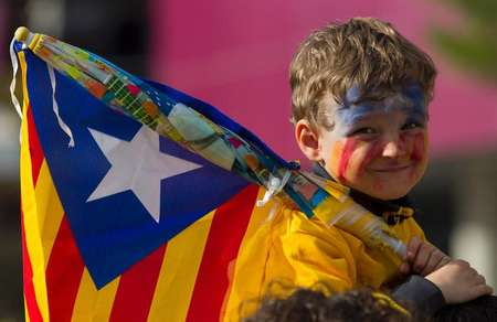 A young boy holding a Catalan flag smiles during a pro-independence rally in Barcelona, on September 11, 2013 ( Quique Garcia (AFP) )