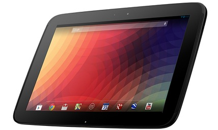 Nexus 10 (front, right-angled, home screen)