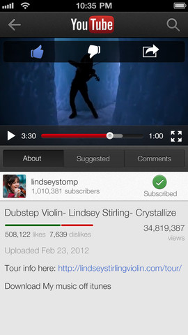 YouTube 1.1.0.4136 para iOS (iPhone screenshot 003)
