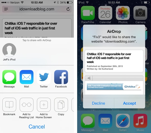 AirDrop Sharing Webpage iOS 7