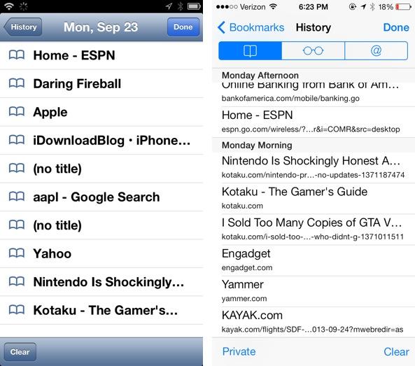 History iOS 6 vs iOS 7 Safari