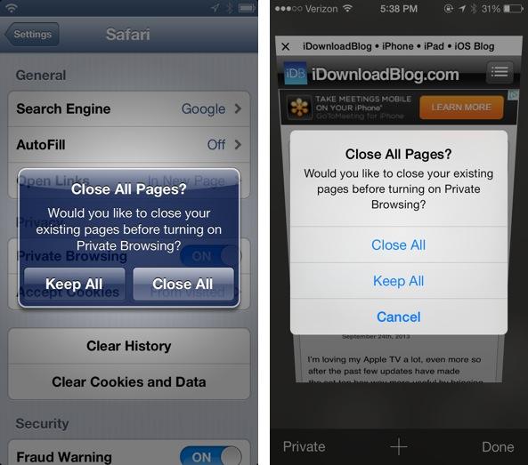 Private browsing ios 6 vs ios 7