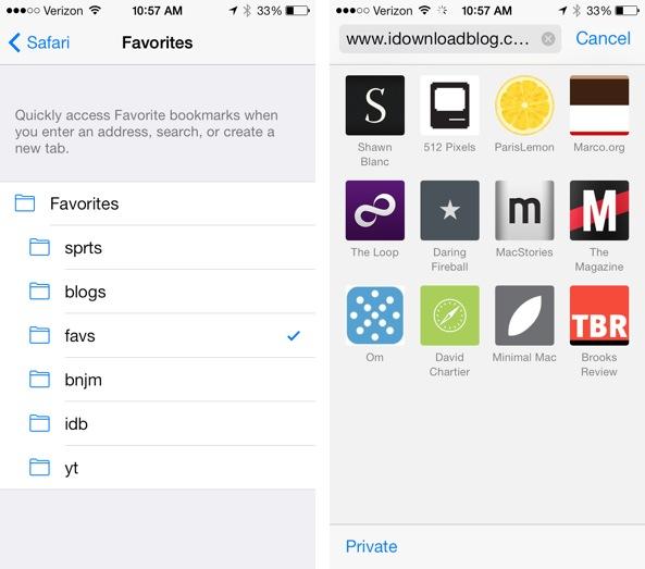 Safari iOS 7 settings Favorites
