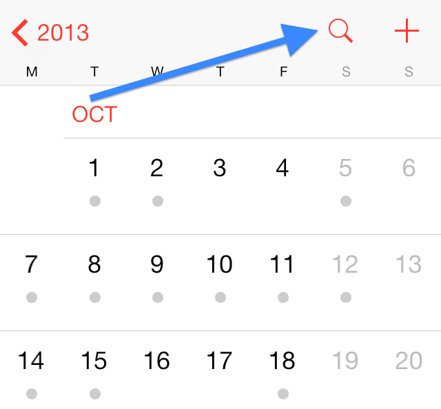 How to access list view iOS 7 calendar app