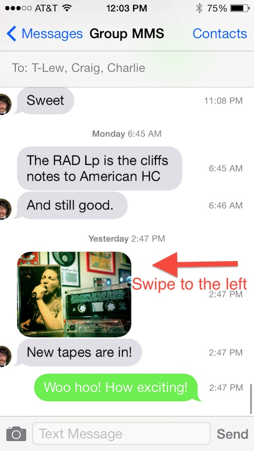How to see time stamps in ios 7
